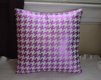 Magenta Foil Metallic Houndstooth Pillow Covers
