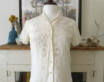 Embroidered silk blouse, 60s, from China, XS