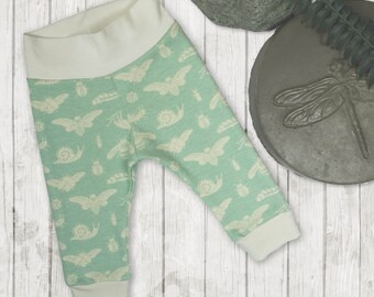 Organic cotton baby leggings, limited edition baby pants, bug pattern unisex baby leggings, baby gifts
