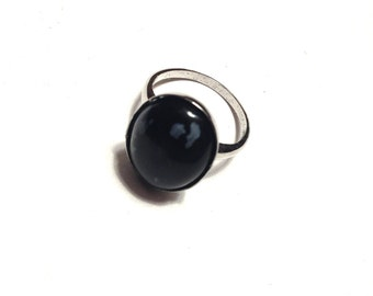 Snowflake Obsidian ring // Obsidian Ring // Black and White Ring // Gemstone ring // Obsidian Sterling Silver Ring