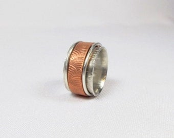 Triple Mixed Metals Spinner Ring