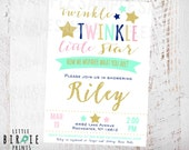 TWINKLE TWINKLE little STAR Baby Shower Invitation- Twinkle star gender reveal or gender neutral invitation - how we wonder what you are