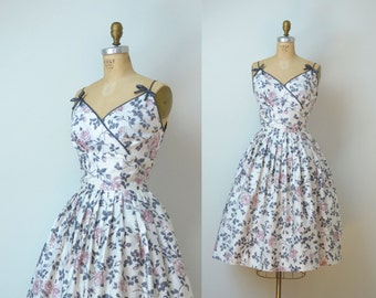 1950s Rose Print Dress / 50s Cotton Sundress