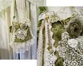 Victorian Purse, shabby gypsy bag gorgeous cut velvet sage cream, beautiful handmade fabric bag, jewelry beads doily lace trim, unique OOAK