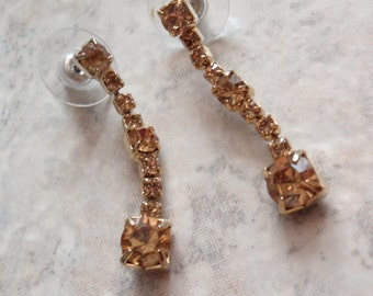 Rhinestone Dangle Earrings Imperial Topaz Color Pierced Prong Set Vintage V0699
