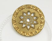 Vintage Ornate Victorian Brass Rhinestone Embellished Perforate Button, 33mm, 1pc