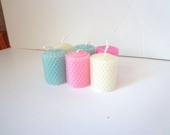Beeswax Votive Candles, Votive Candles, Pink Votive Candles, Beeswax Candles, White Votive Beeswax Candles, Aqua Beeswax Votive Candles