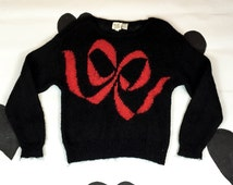 80's knit bow sweater 1980's black red fluffy mohair big bow metallic sweater / pull on / glamour / fuzzy / kitschy / goth / Lolita / M