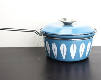 Vintage Cathrineholm Lotus Sauce Pan, Teal Turquoise Blue Enameled Steel, Lidded Soup Pot Large 1960s Norway, Grete Prytz Kittelson 180064
