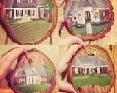 Custom House Ornament, Wood Slice Ornament, Painted Ornament