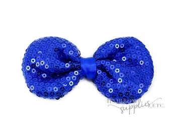 Royal Sequin Puffy Bows 3-1/2 inches - Royal Sequin Bow Headband, Royal Sequin Hair Bow, Royal Bows for Babies, Royal Bows for Girls