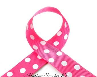 Bubblegum Pink Polka Dots 7/8 inch Polka Dot Grosgrain Ribbon - Polka Dot Ribbon, Polka Dot Hair Bow, Polka Dot Bow, Ribbon By The Yard