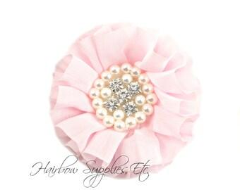 Light Pink Chiffon Pearl Flowers 3-1/2 inch - Light Pink Chiffon Trim, Light Pink Chiffon Flower, Pearl Embellishment, Light Pink Flowers