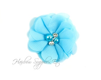 Turquoise Chiffon Scalloped Flowers 2 inch with Diamonds and Pearls - Turquoise Fabric Flowers, Chiffon Flower Headband, Chiffon Flowers