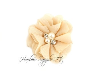 Beige Chiffon Scalloped Flowers 2 inch with Diamonds and Pearls - Beige Chiffon Flowers, Beige Chiffon Scalloped Flowers, Embellishments