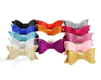 Double Layer Glitter Bow 2.5 inch - Glitter Hair Bow, Glitter Hair Clip, Glitter Bows, Glitter Bow Headband, Glitter Bow Tie, Hair Bows