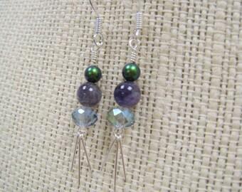 Pearl Aventurine and Crystal Beaded Dangle Earrings with Fringe Motif - HARPER