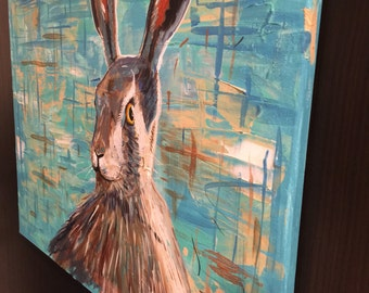 The Morning Hare 18 x 24 acrylic on canvas , ready to hang, by Michael H. Prosper