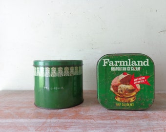 Pair of Vintage Farmland Neopolitan Icecream Tins