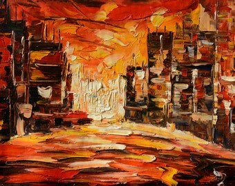 Painting ORIGINAL Oil Painting Palette Knife Impasto Textured Cityscape Buildings Colorful ready to hang wall decor Red ART by Marchella
