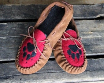 Leather Moccasins for Women - moccasin slippers - leather slippers - ladies moccasins - men's moccasins - brown moccasins
