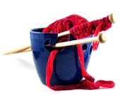 Ceramic Yarn Bowl Large Dark Blue Handmade Pottery Gift for Knitters Indigo Navy Blue
