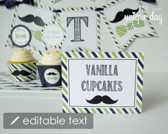 Little man food labels, place cards, table labels - EDITABLE mustache birthday - baby shower - printable - instant download - DIY // MUST-07