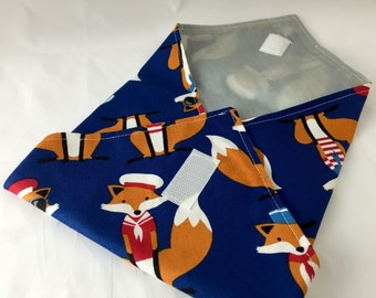 Reusable Sandwich Wrap Bag - Sailor Foxes  in Navy