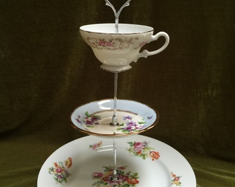 Three Tier Dessert Stand vintage plates for parties showers