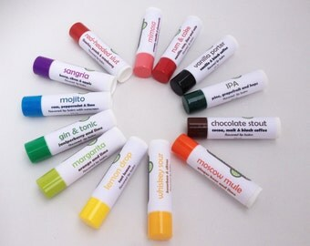 Any 6 cocktail-flavored lip balms - Rum & Coke lip balm, Whiskey Sour flavored lip balm and more
