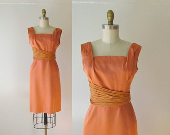 vintage 1960s dress / 60s dress / What a Peach