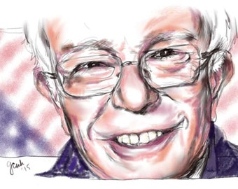 Bernie Sanders, A4 Fine Art Portrait Drawing Print