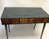 Handmade Raw Distressed Industrial  LIBRARY Cabinet Drawer Wood Desk Assemblage