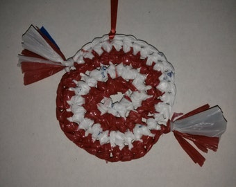 Recycled, Upcycled, Plarn,  Plastic Grocery Bag Ornament Set of 4 (Peppermint)