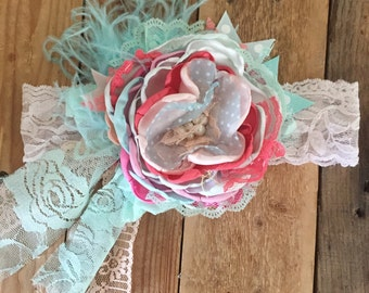 Summer nights flower headband baby headband cozette couture