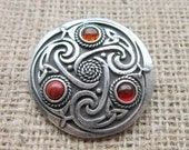 Orange & Red Celtic Knotwork Round Shield Brooch - chunky pewter with triquetras semi precious gemstones Amber Carnelian Red Jasper