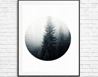 Art Print fog forest - 8x10 - digital prints, zen, living room prints - black and white - can be paired with another print in the same serie