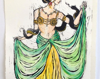 Hand Painted Mata Hari Woodcut