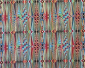 Stunning Red with Blue and Green and Metallic Gold Lumina 2 Print Pure Cotton Fabric--By the Yard