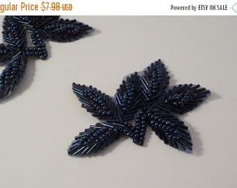 ON SALE Blue Iris Leaf Design Beaded Applique-One Piece