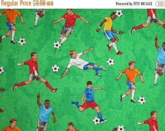 ON SALE Soccer Players Print Pure Cotton Fabric from Timeless Treasures-One Yard