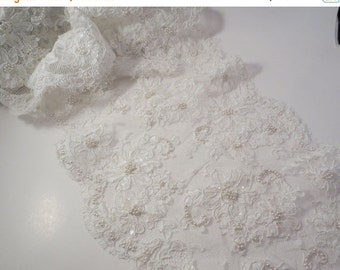 """ON SALE White Beaded French Alencon Lace Trim 10"""" Wide--One Yard"""