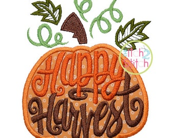 Happy Harvest Pumpkin Applique Design For Machine Embroidery, INSTANT DOWNLOAD now available