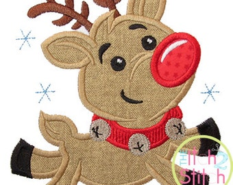 """Flying Reindeer Applique,  Sizes 4x4, 5 inch, 5x7, & 6x10, shown with our """"Nick"""" Font NOT Included, INSTANT DOWNLOAD available"""