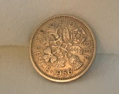 Vintage 50s British SIXPENCE Lucky Coins for  Very Special Occasions choose 1954 or 1956 United Kingdom Queen Elizabeth II