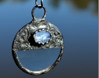 Kyanite Pendant, Magnifying Glass Pendant, Blue Necklace, Statement Jewelry, Kyanite Necklace, Magnifier Necklace, Kyanite Jewelry  (2309)