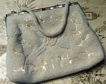 Vintage White Beaded Handbag, Dayne Taylor Purse, 1960s clutch purse, Bridal Purse