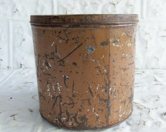 Vintage Primitive Tin Storage Can
