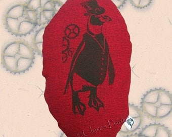 Steampunk Penguin Stuffie Cushion Hand Printed Linocut Handmade Red