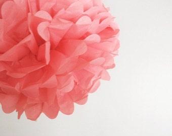 paper pom pom: pink tissue paper pom pom party decor, nursery decor, cake smash